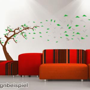 Wandtattoo Baum im Wind zweifarbig