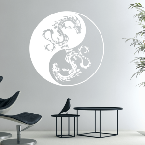 Wandtattoo Yin Yang Drachen