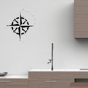 Wandtattoo Kompass mit Wunschort und Koordinaten BK