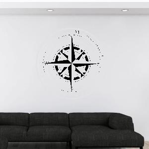 Wandtattoo Kompass mit Wunschort und Koordinaten