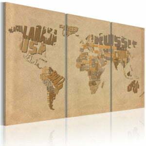 Wandbild - Alte Weltkarte - Triptychon