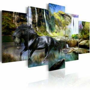 Wandbild - Schwares Pferd vor paradisischem Wasserfall