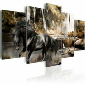 Wandbild - Nebelschwaden über dem schwarem Pferd