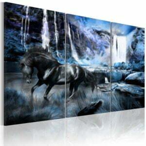 Wandbild - Wasserfall in saphir Farben