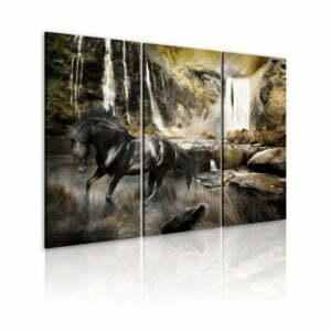 Wandbild - Schwarzes Pferd und Wasserfall