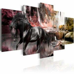 Wandbild - Schwarze Pferd im Dunst des Wasserfalls