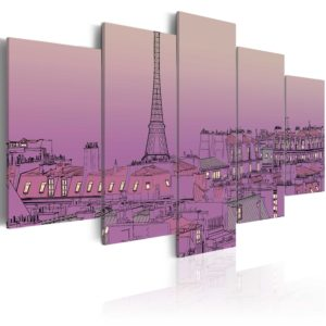 Wandbild - Lilafarbener Sonnenaufgang über Paris