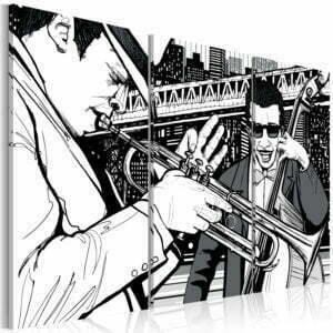 Wandbild - Jazz-Konzert und New York-Wolkenkratzer im Hintergrund - Triptychon