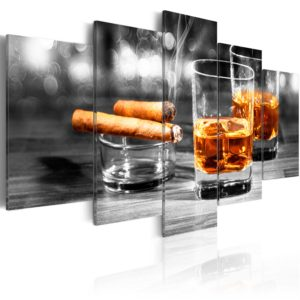 Wandbild - Cigars and whiskey