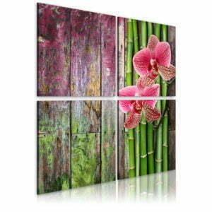 Wandbild - Bambus und Orchidee
