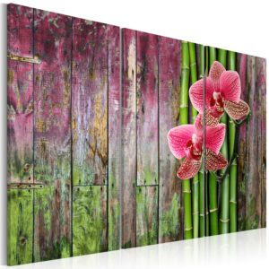 Wandbild - Blüten und Bambus