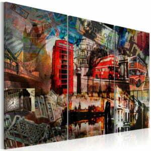 Wandbild - Londoner Collage - Triptychon