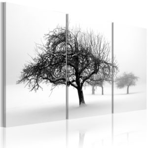 Wandbild - Bäume in weißer Hülle