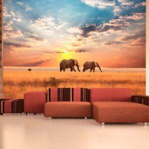 Fototapete - Zwei Elefanten in der afrikanischen Savanne