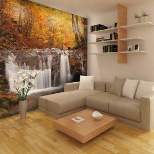 Fototapete - Autumn landscape : waterfall in forest