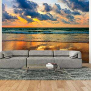 Fototapete - Farbenfroher Sonnenuntergang am Meer