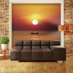 Fototapete - Fischerboot bei Sonnenuntergang