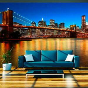 Fototapete - Abenddämmerung über der Brooklyn Bridge