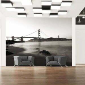 Fototapete - San Francisco: Golden Gate in Schwarz und Weiß