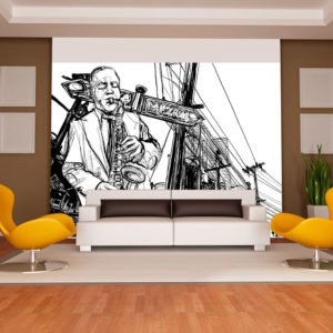 Fototapete - Saxophone recital on Broadway