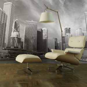 Fototapete - Panorama von Chicago in Schwarz und Weiß