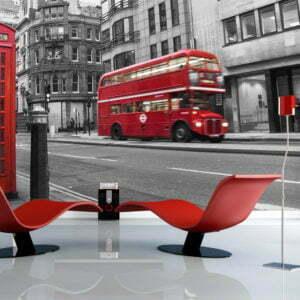 Fototapete - Londoner Telefonzelle und ein roter Bus