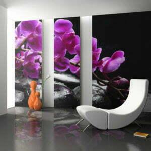 Fototapete - Pure Harmonie: Orchidee und Zen-Steine