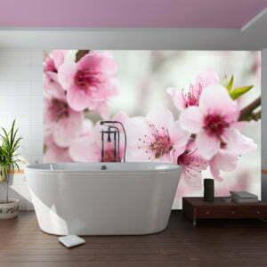 Fototapete - Blühende Kirschblüte (rosa Blümchen)