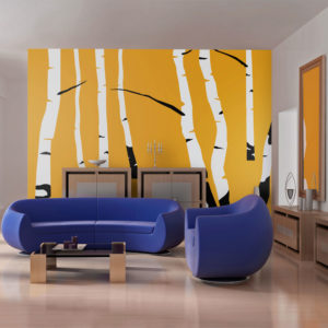 Fototapete - Birches on the orange background