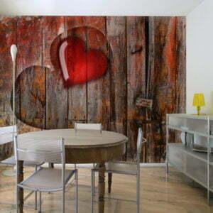 Fototapete - Herz in Holz geschnitzt