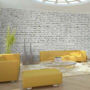 XXL Tapete - Wand aus weißem Rohziegel