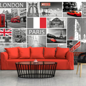Fototapete - London, Paris, Berlin, New York