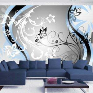Fototapete - Art-flowers (blue)
