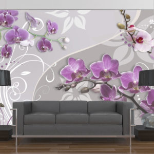 Fototapete - Flight of purple orchids