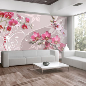 Fototapete - Flight of pink orchids