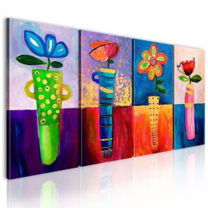 Gemaltes Bild - Regenbogen Blumen