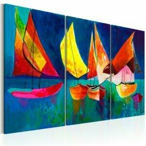Gemaltes Bild - Bunte Segelboote