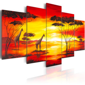 Wandbild - Giraffen beim Sonnenuntergang