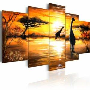 Wandbild - Giraffen an der Tränke