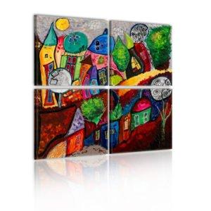 Wandbild - Farbenfrohes Städchen