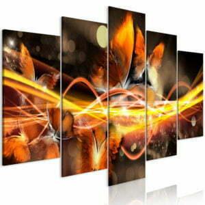 Wandbild - Swarm of Butterflies (5 Parts) Wide Orange