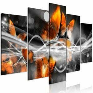 Wandbild - Swarm of Butterflies (5 Parts) Wide Grey