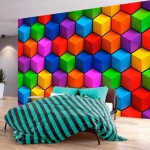 Fototapete - Colorful Geometric Boxes