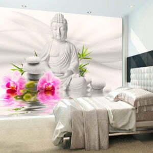 Fototapete - Buddha und Orchideen