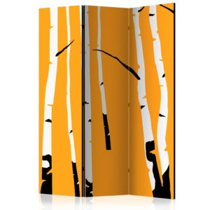 3-teiliges Paravent - Birches on the orange background [Room Dividers]