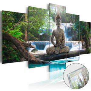 Acrylglasbild - Buddha and Waterfall [Glass]