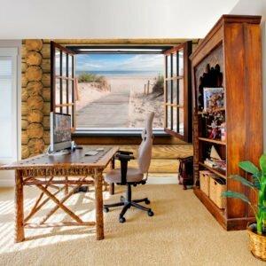 Fototapete - Beach outside the window