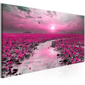 Wandbild - Lilies and Sunset (1 Part) Narrow