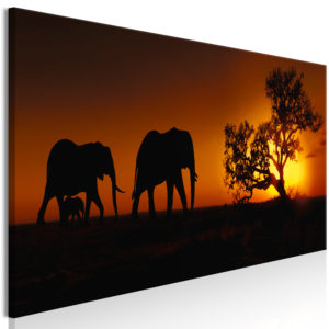 Wandbild - Elephant Family (Orange)