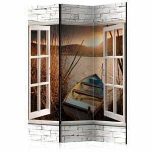 3-teiliges Paravent - Autumnal Lake [Room Dividers]